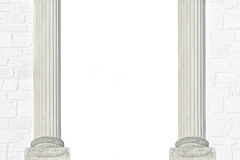与砖墙和两根罗马柱子的背景 免版税库存图片