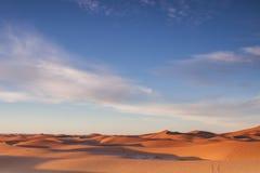 日出的撒哈拉大沙漠 库存图片