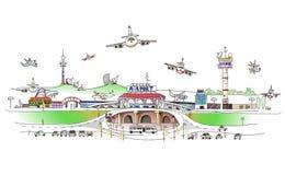城市汇集,机场例证 免版税库存照片