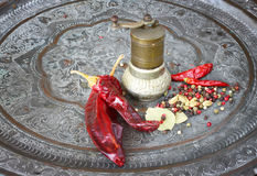 金属化香料研磨机用炽热胡椒和月桂叶 免版税图库摄影