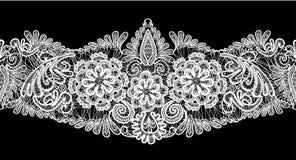无缝的条纹-花卉鞋带装饰品-白色  免版税库存照片