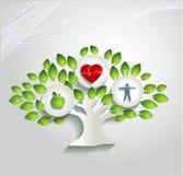 健康人的概念、树和医疗保健标志 库存照片