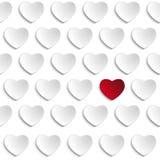 在红色背景的情人节心脏 库存图片