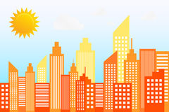 现代城市摩天大楼地平线在晴天 免版税库存图片