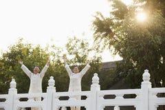 实践太极拳的两个前辈在北京,被伸出的胳膊 免版税库存照片