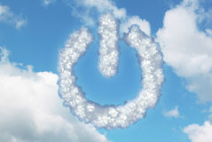 在力量按钮象形状的云彩  免版税库存照片