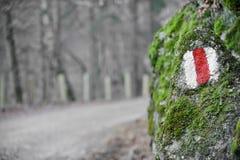 远足在青苔岩石的标志 库存照片