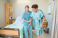 进来的护士帮助的患者使用步行者 免版税库存照片