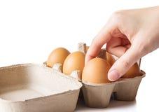 妇女手用鸡蛋 免版税库存图片