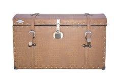 在汽车的后方的葡萄酒手提箱 免版税库存图片