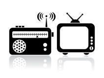Значки радио ТВ Стоковые Изображения