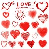 Установленные сердца вектора. Нарисованная рука. Стоковая Фотография