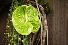 Το στεφάνι αφήνει τον πράσινο τοίχο καφετή Στοκ Εικόνα