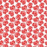 Предпосылка красных сердец снега безшовная Стоковые Изображения