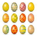 Установленные пасхальные яйца. Красочный  Стоковое Фото