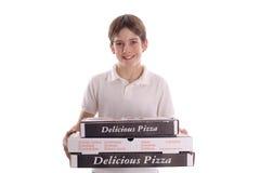 пицца мальчика Стоковая Фотография RF