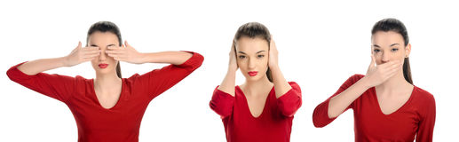 См. никакое зло, не слышать никакое зло, не поговорите никакую злую концепцию. Женщина с ее руками вверх. Стоковое Изображение RF
