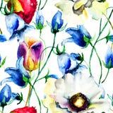 Безшовные обои с красочными цветками лета Стоковые Изображения RF
