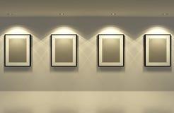 Картинная рамка на белой стене с белым полом Стоковая Фотография RF