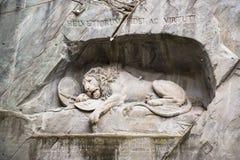 死的狮子纪念碑在卢赛恩 免版税图库摄影