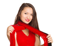 有一条红色围巾的美丽的亚裔女孩 库存照片