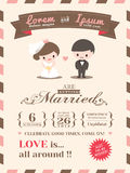 Шаблон карточки приглашения свадьбы Стоковое Изображение RF