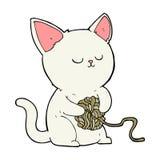 使用与毛线球的动画片猫  免版税库存照片