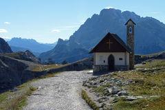 山的一个教堂 库存照片