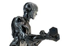 Холодные сильные гантели подъема робота Стоковая Фотография