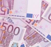 五百欧洲笔记。整个背景纹理 库存照片
