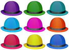 一个小组五颜六色的帽子 免版税库存照片