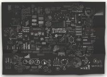 Συρμένη χέρι επιχειρησιακή στρατηγική σε τσαλακωμένο χαρτί Στοκ Εικόνες