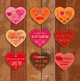 Комплект счастливых карточек дня валентинок Стоковые Фотографии RF