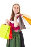 她爱进行购物游览 库存图片