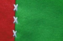 红色和绿色毛毡布料 免版税库存图片