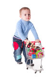 男孩和购物 免版税库存图片