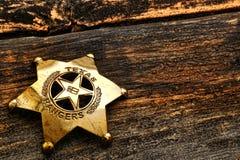 美国西部德克萨斯别动队员古董执法官徽章 免版税库存照片
