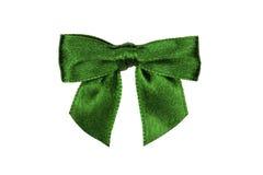 在白色隔绝的绿色弓 库存照片
