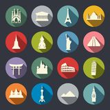 旅行地标象集合。平 库存照片