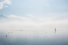 Ηλιόλουστη χειμερινή ημέρα στη λίμνη Στοκ Φωτογραφίες