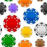 赌博的纸牌筹码无缝的样式 免版税库存图片