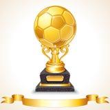 抽象金黄足球战利品。传染媒介例证 免版税图库摄影