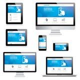 Современный отзывчивый компьютер веб-дизайна, компьтер-книжка, плата Стоковое фото RF