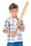 有棒球棒的男孩 免版税图库摄影