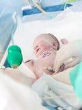 新出生的婴孩在医院 免版税库存照片