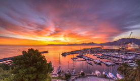 Восход солнца на гавани Палермо Стоковое Изображение