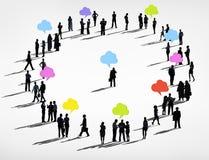 Люди мирового бизнеса с красочным пузырем речи Стоковые Фотографии RF