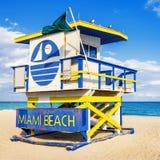 救生员塔,迈阿密海滩,佛罗里达 免版税图库摄影