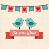 Σχέδιο καρτών αγάπης με δύο χαριτωμένα πουλιά Στοκ Εικόνες