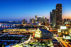 Майами городской на ноче Стоковые Фотографии RF